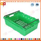 Caisse empilée par logistique en plastique pliable de rotation de supermarché avec le couvercle (ZHTB30)