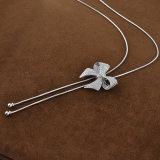 Senhoras de moda Tamanho Longo Butterfly Rhinestone Colar de Ouro Branco