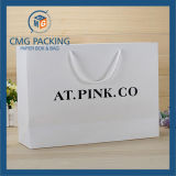 Bolsa de papel elegante e elegante, cartão branco para vestuário