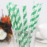 Paja de beber de papel impresa raya verde del vajilla del partido del papel de la insignia