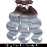 """L'armure brésilienne de cheveu d'Ombre d'onde de corps de beauté de Lili empaquette le gris 8 de 100% T1b """" - 30 """" non paquets de cheveux humains de Remy"""