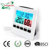 Thermomètre de l'humidité intérieure de jauge avec Réveil numérique et rétroéclairage
