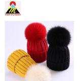 La mode Big fourrure POM POM hiver chaud Bonnet tricoté