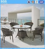 Piscina móveis de vime rodada pe as medulas Conjunto de jantar mesa e cadeiras