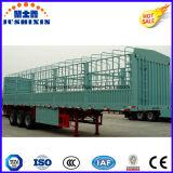 熱い販売の三車軸適正価格の実用的な貨物トレーラー50トンの塀の棒の家畜動物輸送の