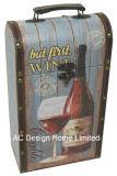 Diseño de impresión doble vino decorativos de cuero de PU/caja de vino de almacenamiento de madera MDF