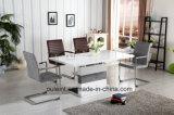 拡張高い光沢のあるMDFのダイニングテーブル