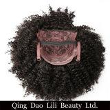 La perruque courte bouclée crépue brésilienne 8 '' 10 '' de cheveu peut être la couleur 100% noire normale teinte de pleines de 310g Remy perruques de cheveux humains