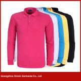 カスタムメンズピンクの刺繍の昇進の綿のポロシャツ(P120)