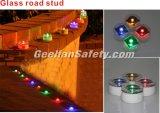 Color accionado solar de los ojos de gatos LED de las etiquetas de plástico reflexivas del camino de la calzada