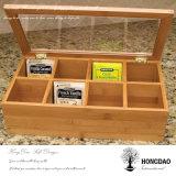 Rectángulo de almacenaje de madera de encargo del bolso de té de Hongdao con los divisores Wholesale_D