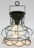 Lanterna de metal redonda decorativas Vintage W/Lâmpada LED