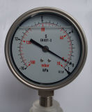 Taille 4inch 100mm de cadran 100 mbar de basse pression de mesure de manomètre de silicones de caisse remplis d'huile