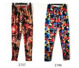 Jeans maigres transférés neuvième par longueur d'impression de vêtement de mode de femmes