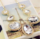 Claro Transparente Cristal Blanco Collar chapado en oro de las cadenas de aleación de zinc para el verano de la Prom estilo chica regalo regalo de aniversario (PN-038)