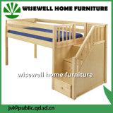 Bâti de couchette de Mi-Dormeur en bois de pin avec l'escalier