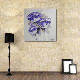 Пурпуровый декоративный цветок на картине маслом