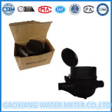 Contador del agua de nylon plástico del color negro