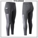 Calças elásticas elevadas da ioga da aptidão das mulheres com bolso
