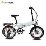 Bicicleta elétrica dobrada da cidade com bateria escondida