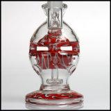 Tubo de agua de cristal del tazón de fuente del rojo 14.4m m de la manera que fuma del percolador del huevo de la bola del pelele de la maternidad común del reciclador