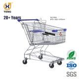 Au140UM 140L Carrinho de Compras de supermercado Carrinho com 5'' PU 4 rodas giratórias
