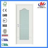 Portas de madeira contínuas interiores do vidro Tempered do PVC (JHK-G02)