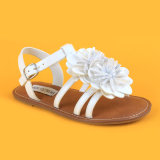 Princesse blanche Sandals Shoes de filles de cuir de fleur de mode de gosses