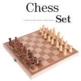 木旅行チェスのこまセットのバツクギャモン盤のゲームの子供の教育おもちゃ