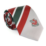 Relation étroite en soie de logo fait sur commande rayé noir classique neuf de cravate