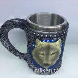 Caneca do lobo do crânio do aço inoxidável da resina de café/chá/cerveja