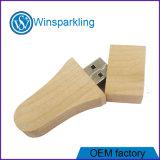 madera promocional del USB con el palillo de la pluma del USB de la insignia del grabado