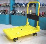 Plataforma de plástico de 200kgs Caminhão de mão Carrinha de palheta de cor amarela com rodas sem ruído