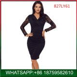 Schwarze v-Stutzen-Frau neues reizvolles Bodycon Spitze-Kleid für Großverkauf