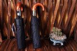 Lederner hölzerner Griff-Regenschirm für Regenschirm-Regen-Frauen-männlichen Qualitätssonnenschirm der Mann-3folding automatische 10ribs starke Windresistant