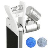 Universalmikroskop-Vergrößerungsglas des Handy-60X des Klipp-LED mit UVbargeld-Detektor-Taschenlampe