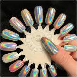 Einhorn-Nagel-Kunst-ganz eigenhändig geschriebes Funkeln blättert Regenbogen-Chrom-Pigment ab