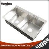 Пользовательский формат Arc Панель управления Дважды глубокую чашу стали кухня с держателя инструмента