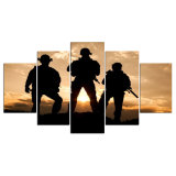 ホーム装飾のためのキャンバスの壁の芸術の現代キャンバス絵画によって組み立てられるGicleeの5つのパネルのアメリカの兵士映像プリント