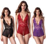 Повелительниц пижам шнурка женщин женское бельё цельных шикарных эротичных сексуальное