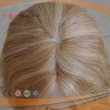 ブロンドの短い髪のレースの前部絹の上のかつら(PPG-l-01617)