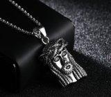 Chaîne pendante de cadre de collier de tête de face de Jésus de rapport d'argent d'or d'acier inoxydable de Mens