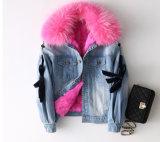Зимой Parka женщин Джинсовая куртка со съемным реального мех