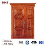 Porte extérieure d'intérieur d'entrée en bois solide pour classique