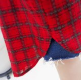 Camice di polo rosse di modo del plaid causale superiore delle donne con Botton