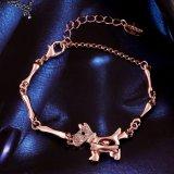 Bijou artificiel de bracelet de crabot de Rhinestone plaqué par or de Rose de mode