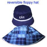 Algodão reversível liso chapéu escovado da cubeta com cintas médias