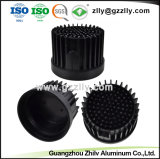 6.063 T5 Pino redondo de alumínio preto do dissipador de calor com o ISO9001