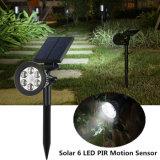 6 LED Spotlight Solar Solar Seguridad Sensor de movimiento del Jardín de Luz para porche paisaje Pathway