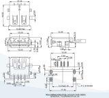 Het Omgekeerde Type SMT van vrouwelijke Schakelaar USB2.0 Af